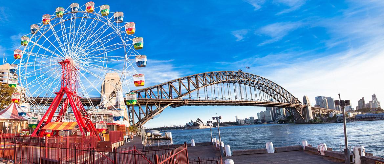 Luna-park-wheel-with-harbour-bridge-arch-in-Sydney-Australia-1170x500px-2